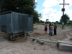 Chatting to people at the borehole